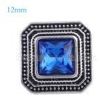 12MM Broche de plata antiguo plateado plateado con diamantes de imitación azul profundo KS6148-S broches de joyería