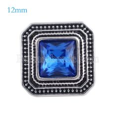 12MM Square snap Antique sliver Plated with deep blue rhinestone KS6148-S snaps jewelry