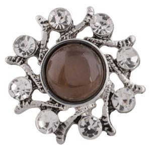 Кнопка оснастки с дизайном 20MM Античное серебро с покрытием из коричневых бусин KC9734 оснастка