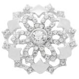 20MM Flowers snap Versilbert mit weißem Strass KC7883 snaps jewelry