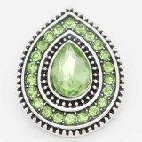 Diseño 20MM chapado en plata con diamantes de imitación verde oscuro KC6718 broches de joyería