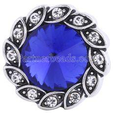 20MM snap Antique Silver plaqué avec des strass bleus profonds KC6243 s'encliquette des bijoux
