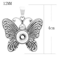 Butterfly snap sliver Pendant with rhinestones fit 12MM snaps style jewelry KS0363-S