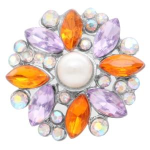 Diseño 20MM de plata chapada con diamantes de imitación de color naranja y perlas KC6928 broches de joyería