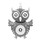 Owl snap sliver Pendant with  fit 20MM and 12MM snaps style jewelry KC0445