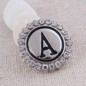 20MM Englisch Alphabet-A Snap Antik Silber vergoldet mit Strass KC8530 Snaps Schmuck