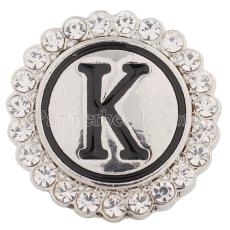 20MM English alphabet-K snap Antique silver  plated with Rhinestones KC8540 snaps jewelry