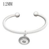 Snap sliver bracelet White rhinestone fit 12MM snaps jewelry KS12777-S
