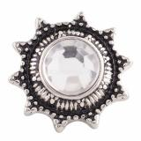 18MM snap Antique Silver Plated with white Rhinestone KC9635 snaps jewelry