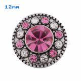 Broches 12mm plateados con diamantes de imitación rosados KS5031-S joyería rápida