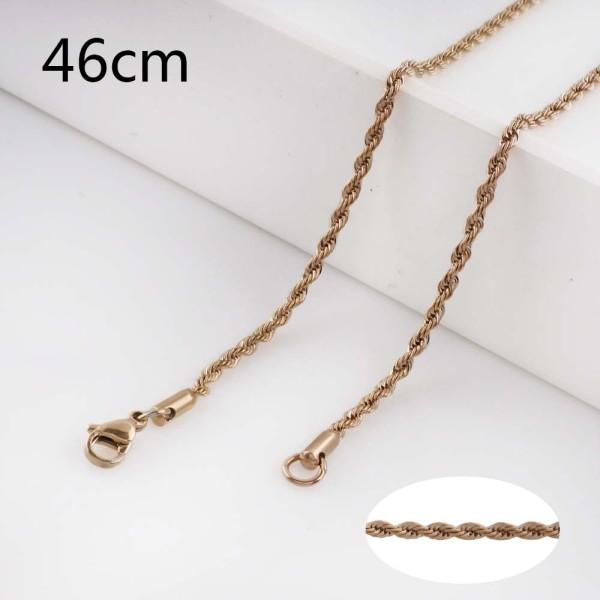La cadena de cuerda de moda de acero inoxidable de oro rosa 46CM se adapta a todas las joyas