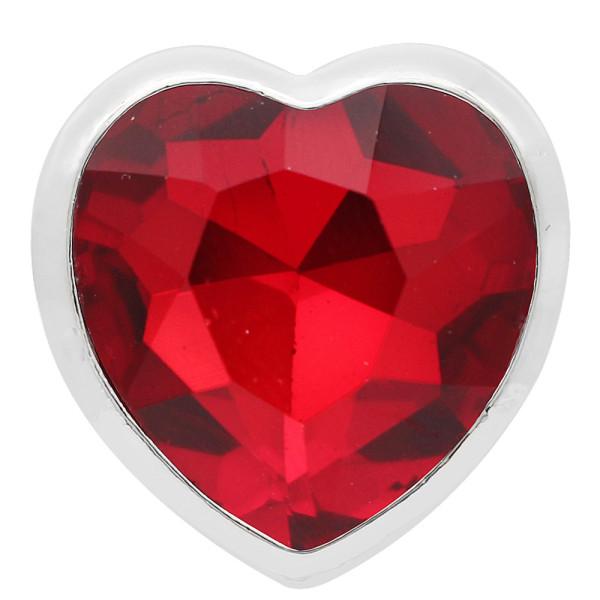 20MM loveheart silver plaqué avec des gros bijoux en strass rouge