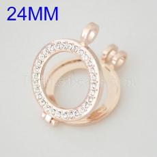 25MM Alloy Rose Gold coin locket pendant with rhinestone