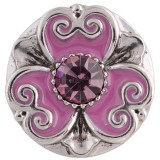 20MM round snap silver Antique plated with purple rhinestone and Enamel KC5361 snaps jewelry