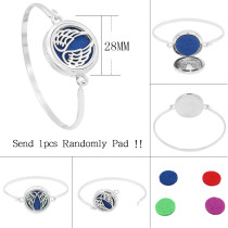 28MM alloy Wing Aromatherapy/Essential Oil Diffuser Perfume Bracelet with 1pc 20mm discs as gift