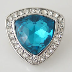 20MM Irregular shape snap  Silver Plated with light blue rhinestone KB5293 snaps jewelry