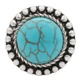 20MM Broche redondo plateado con piedra turquesa cian KC6559 broches de joyería