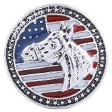 20MM Horse and National flag snap Antique Silver Plated with  Enamel KC6114 snaps jewelry