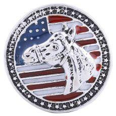 20MM Caballo y bandera nacional a presión Chapado en plata antigua con esmalte KC6114 broches de joyería