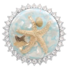 Glossy Surface Round colorful Starfish Amber snap Silver Plated with Rhinestone KC7964 Light Blue