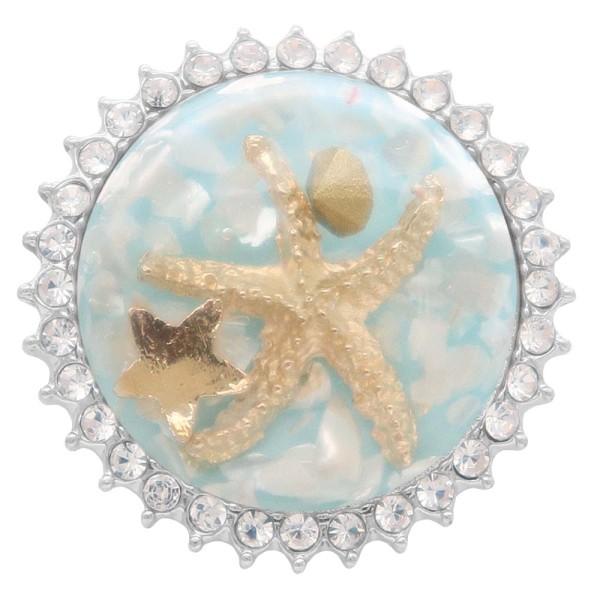 Глянцевая поверхность Круглая разноцветная морская звезда с янтарной защелкой Посеребренная со стразами KC7964 Голубой