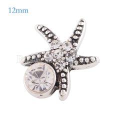 12MM Starfish snap Antique astilla plateada con diamantes de imitación blancos KS6172-S broches de joyería
