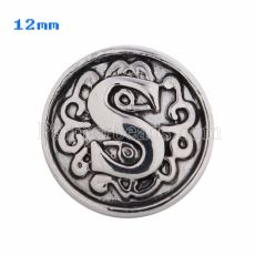 12mm S Antique snaps Silver Plated KS5021-S snap jewelry