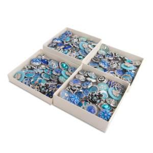 50pcs / lot Botones a presión 20mm Mix Azul, cian, zafiro mixmix colores