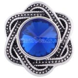 20MM snap Antique Silver plated with blue Rhinestone KC6267 snaps jewelry
