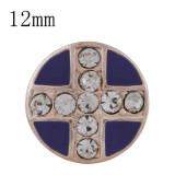 12MM cruz de oro rosa plateado con diamantes de imitación y esmalte púrpura Diámetro KS6332-S