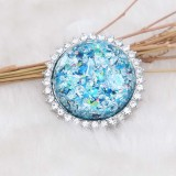 25MM Hecho a mano Grueso brillante redondo Ámbar complemento Plateado con diamantes de imitación KC7955 cian