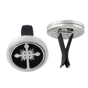 30mm alloy cross car perfume aromatherapy essential oil diffuser breathable air freshener decorative perfume clip Spacer color random hair fit 23mm pads ( xx0104-mix)