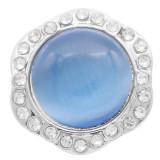 Diseño 20MM snap Chapado con diamantes de imitación el ojo de gato azul claro KC7885 encaja joyas