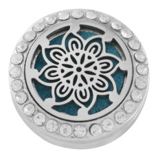 22mm white alloy flower Aromatherapy/Essential Oil Diffuser Perfume Locket snap with 1pc 15mm discs as gift
