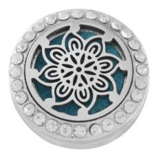 22mm weiße Legierung Blume Aromatherapie / Ätherisches Öl Diffusor Parfüm Medaillon Snap mit 1pc 15mm Scheiben als Geschenk