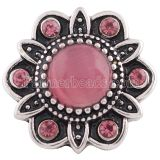 20MM Flower snap Antique Silver Plated with rose-red rhinestone and Opal KB8727 snaps jewelry