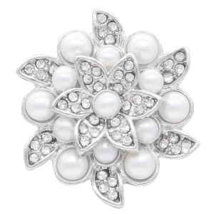 20MM design snap Silver Plated with white rhinestone and pearl KC7894 snaps jewelry