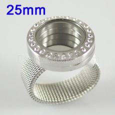 Edelstahlring Mix6-10 # Größe mit Dia 25mm Schwimm Charme Medaillon Silber Farbe