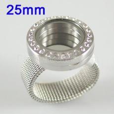 Нержавеющая сталь RING Mix6-10 # размер с Dia 25mm плавающий шарм медальон серебристого цвета