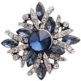 Diseño 20MM de plata chapada con diamantes de imitación azul oscuro KC8991 broches de joyería