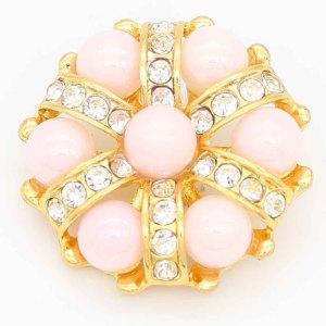Diseño 20MM chapado en oro chapado con diamantes de imitación y perla rosa KC6693 broches de joyería