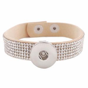 Botones 1 Cuero desnudo KC0239 con diamantes de imitación pulseras de nuevo tipo Ajuste de botón extraíble 20mm encaja trozos