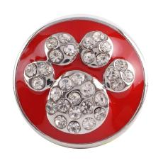 20MM Paws snap button Antique Silver Plated with red rhinestone snap jewelry