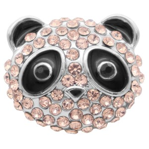 20MM Panda snap Silver Plated with pink rhinestone KC8002 snaps jewelry
