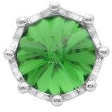 Broche de corona 20MM plateado con diamantes de imitación verdes KC6813 broches de joyería