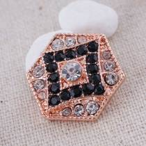 20MM Hexagon snap  Antique rose-gold plated with white  rhinestone KC7090 snaps jewelry