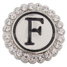 20MM English alphabet-F snap Antique silver  plated with  Rhinestones KC8535 snaps jewelry