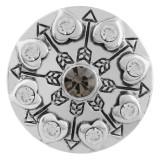 20MM corazón chapado en plata con diamantes de imitación KC5554 broches de joyería