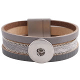 Partnerbeads 7.8inch gris pulseras de cuero real encajan 18 / 20MM broches de presión KC0040 broches de joyería