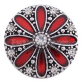 20MM flower snap Silver Plated with red Enamel KC8629 snaps jewelry